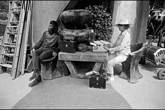 Dennis Stock, « Planet of the Apes », 1967 (retirage en 2007), de la serie « Planet of the Apes », prise de vue réalisée sur le tournage du film « La Planète des singes » © Dennis Stock / Magnum Photos. Collection Frac Grand Large — Hauts-de-France